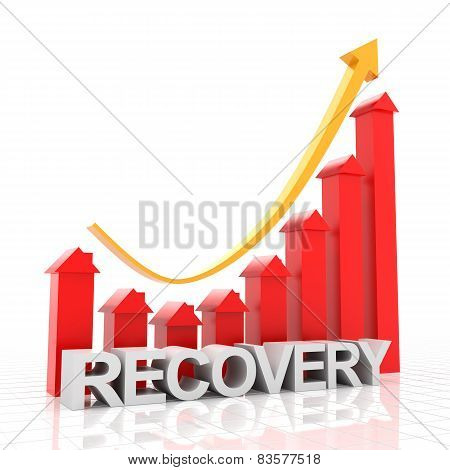 Real estate recovery chart, 3d render