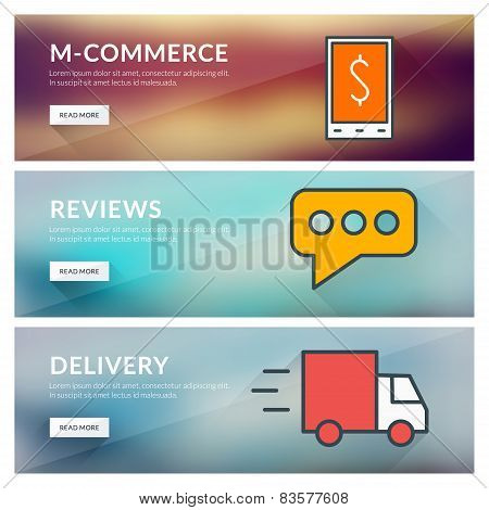 Flat Design Concept For M-commerce, Reviews, Delivery