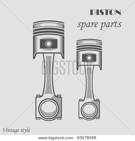 Vector Illustration Of A Piston Sports Car