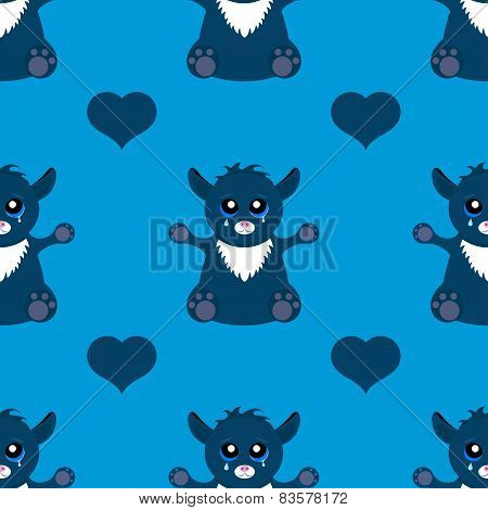 Seamless Pattern Cat Monster On A Dark Background