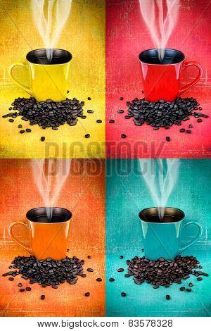 Colorful Coffee Mug Collage