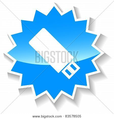 Flash drive blue icon