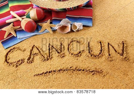Cancun Beach Writing