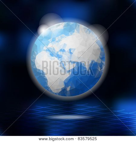 Modern Low Poly Globe, Planet Earth, Vector Illustration