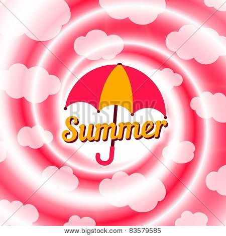 Summer Background with umbrella.