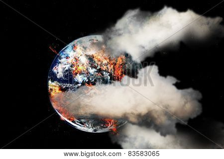 Burning globe earth