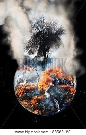 Burning globe earth