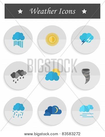 Vector Set Of Weather Icons In The Style Of The Material Design