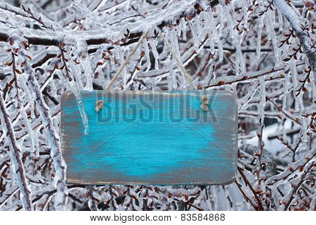 Blank wooden sign with ice covered tree branches