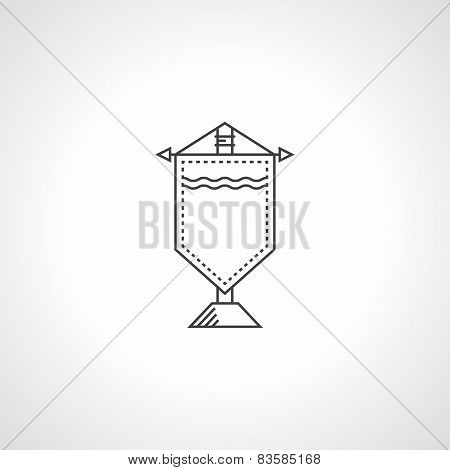 Gift pennant black vector icon