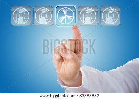Finger Selecting Wind Energy Among Nuclear Icons