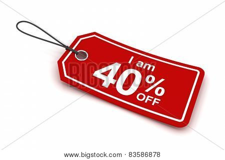 I am 40 percent off sale tag, 3d render