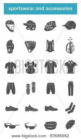 Vector set of icons sports accessories, clothes, shoes