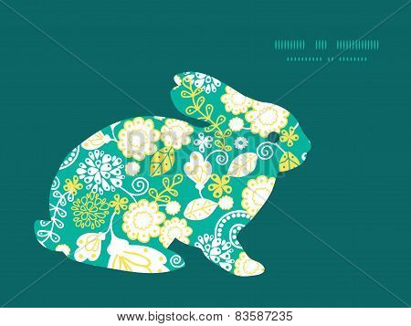 Vector emerald flowerals bunny rabbit silhouette Easter frame