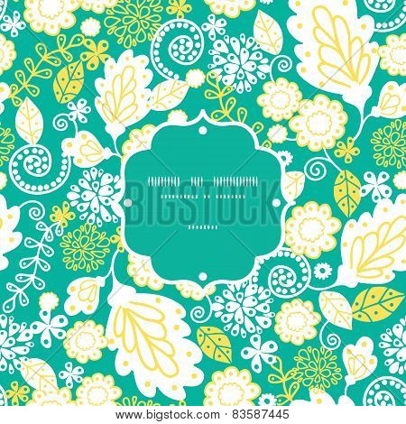 Vector emerald flowerals frame seamless pattern background