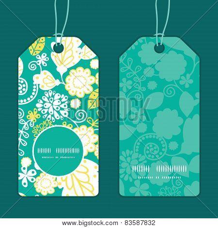 Vector emerald flowerals vertical round frame pattern tags set