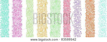 Set Of Nine Textured Natural Vertical Seamless Patterns Backgrounds