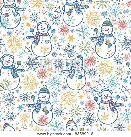 Cute snowmen seamless pattern background