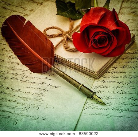 Old Letters, Rose Flower And Antique Feather Pen.  Vintage Style Toned