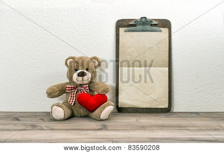 Teddy Bear With Red Heart And Clipboard. Valentines Day