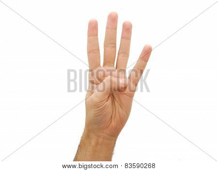 Man hand showing three fingers. Number two gesture isolated on white background