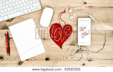 Office Working Place With Red Heart. Valentines Day. Love You