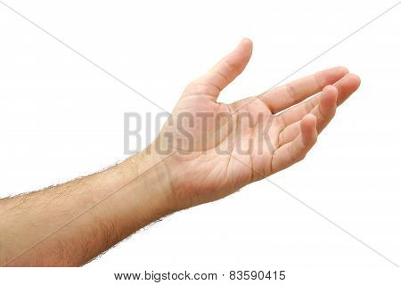 Man hand open and ready to help or receive. Gesture isolated on white background