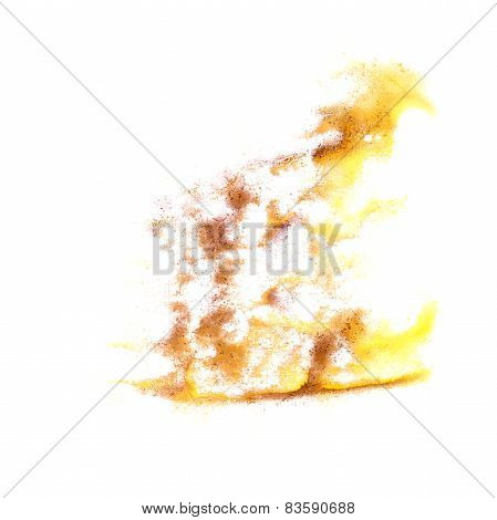 ink blot splatter yellow brown background isolated on white