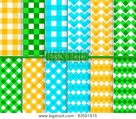 Bright And Simple Blue Orange And Green Squares Pattern Set