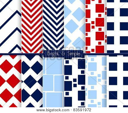 Bright And Simple Red Dark And Light Blue Squares Pattern Set