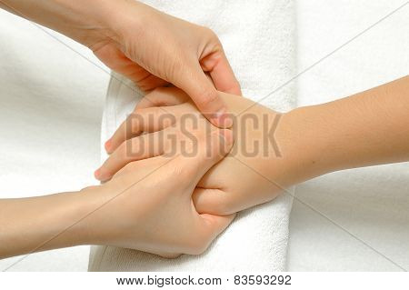 Hand And Finger Massage In Relax Spa