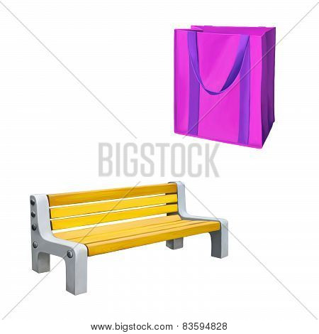 Reusable shopping bag, Pink Bag for groceries, yellow park bench . Isolated over white background .