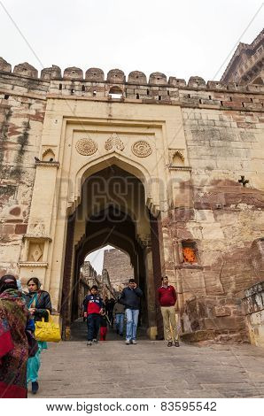 Jodhpur, India - January 1, 2015: Unidentified People Walk Through A Gate At Mehrangarh Fort