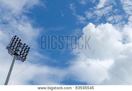 Spot Light Tower In Blue Sky