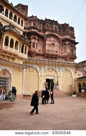 Jodhpur, India - January 1, 2015: Tourist Visit Mehrangarh Fort