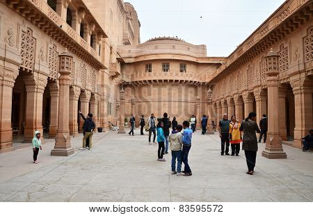 Jodhpur, India - January 1, 2015: Tourist Visit Umaid Bhawan Palace In Jodhpur