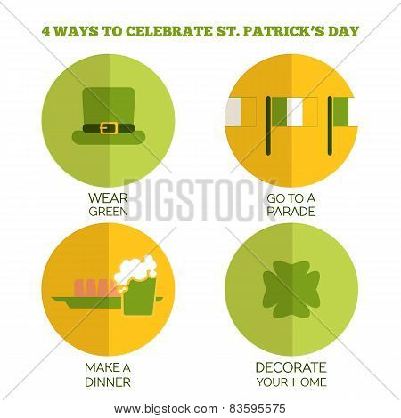 Flat Style Infographics. 4 ways to celebrate Saint Patrick's Day