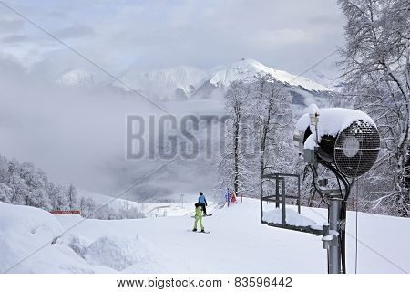 Snow gun in Rosa Khutor Alpine Resort