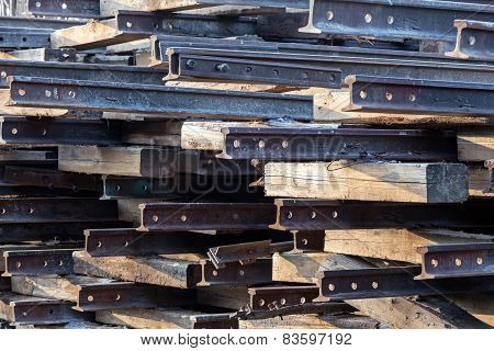 Stack Of Old Rusty Rails