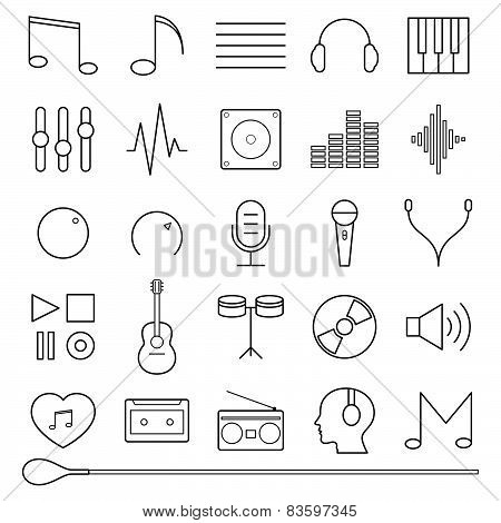 Music Icons Set Vector Illustration