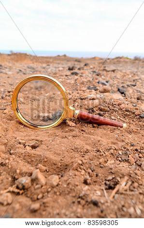 Magnify Glass Abandoned On The Desert
