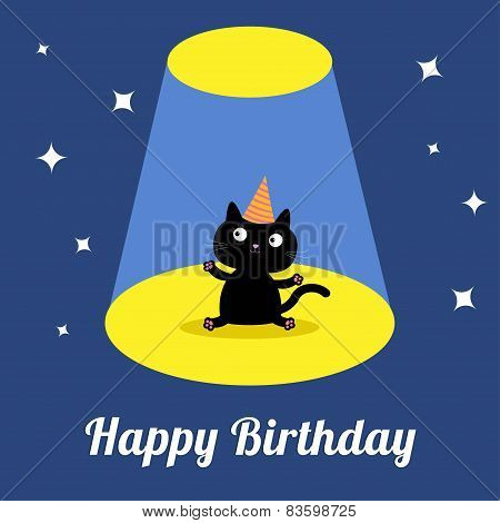 Projector Light In The Circus Show Cute Cartoon Black Cat With Hat. Birthday Card. Flat Design
