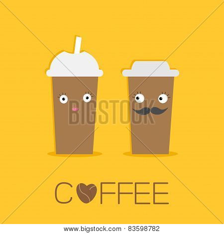 Two Disposable Coffee Paper Cups With Eyes Mustache And Lips. Sead Heart. Happy Family Flat Design