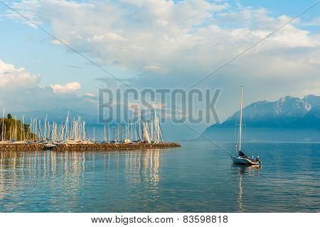 Beautiful landscape of lake Geneva on sunset, Switzerland, canton Vaud