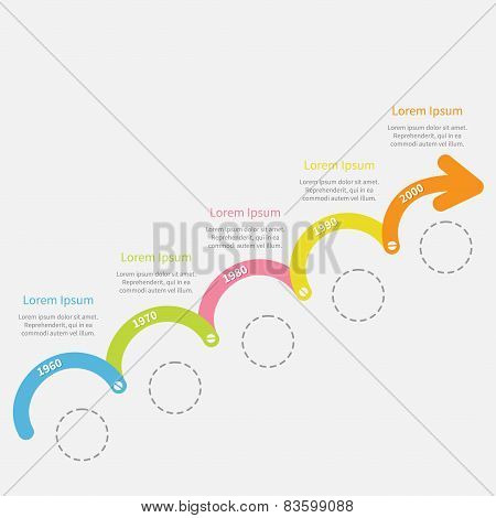Colorful Timeline Infographic Upwards Arrow With Screw Dash Line Circles And Text. Template. Flat De