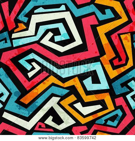 Bright Graffiti Seamless Pattern With Grunge Effect