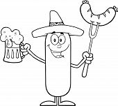 picture of mexican-dog  - Black And White Mexican Sausage Cartoon Character Holding A Beer And Weenie On A Fork - JPG