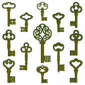foto of skeleton key  - Collection of antique bronze keys with patina decor - JPG