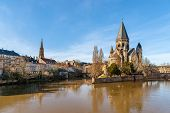 pic of moselle  - Temple Neuf de Metz on the Moselle river  - JPG