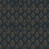 stock photo of tree leaves  - Seamless autumn  grunge pattern with gold leaf on a dark background - JPG